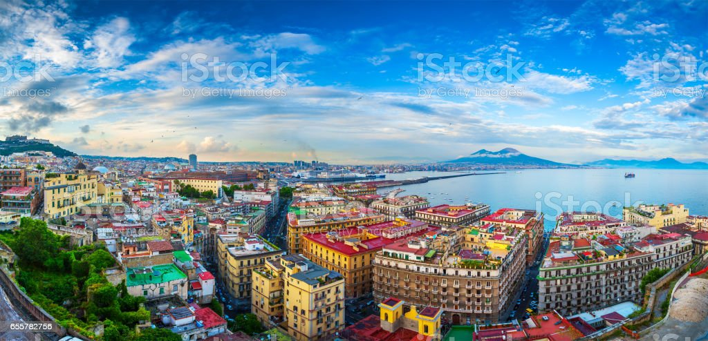 Panorama of Naples, view of the port in the Gulf of Naples and Mount Vesuvius. The province of Campania. Italy. stock photo