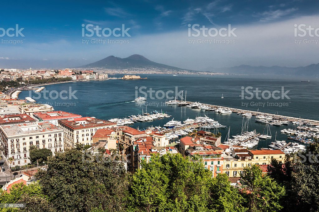 Panorama of Naples with Mount Vesuvius and the Bay stock photo