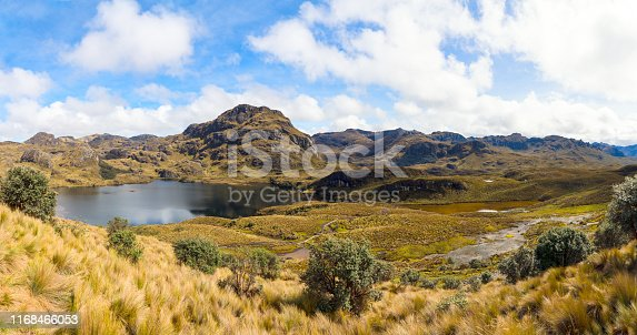 Panorama of the landscape of National park Las Cajas Mountains in Ecuador close to Cuenca city on 3850 altitude.