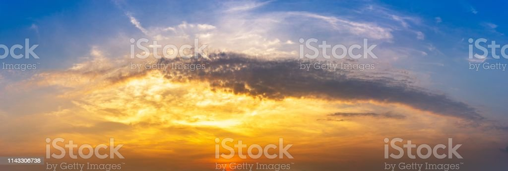 Nature background of panorama blue morning sky and cloud at golden...