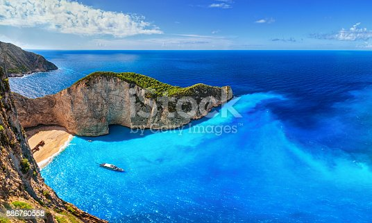 istock Panorama of Navagio Beach (Shipwreck Beach), Zakynthos island, Greece. 886760558