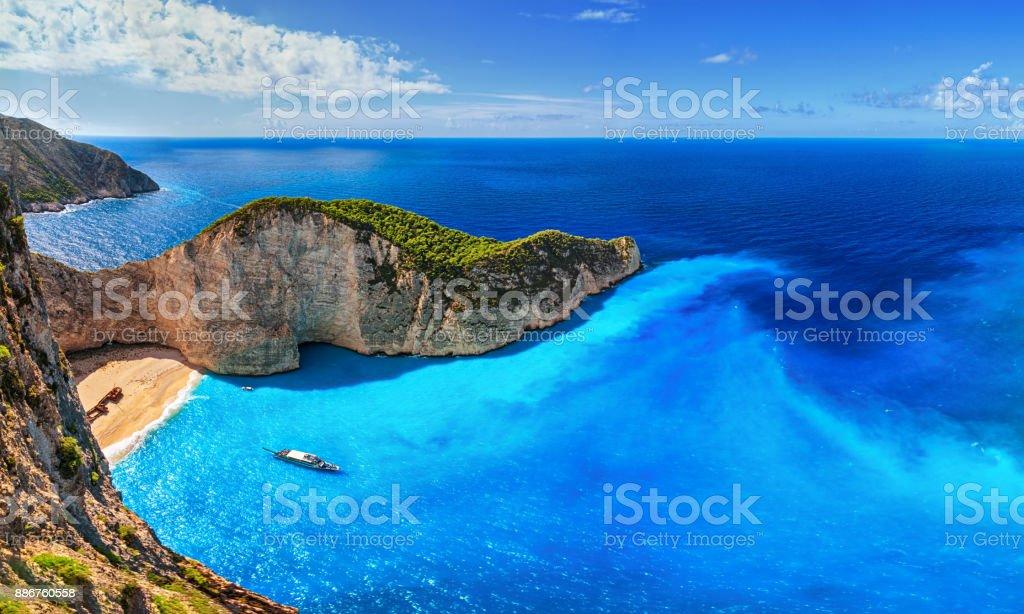Panorama der Navagio Strand (Schiffswrack), Insel Zakynthos, Griechenland. – Foto