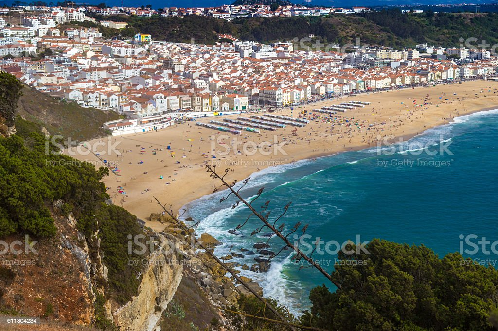 Panorama of Nazare, Portugal stock photo