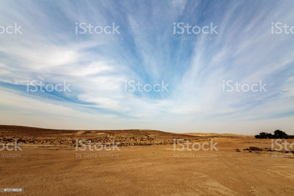 Panorama of Negev desert stock photo