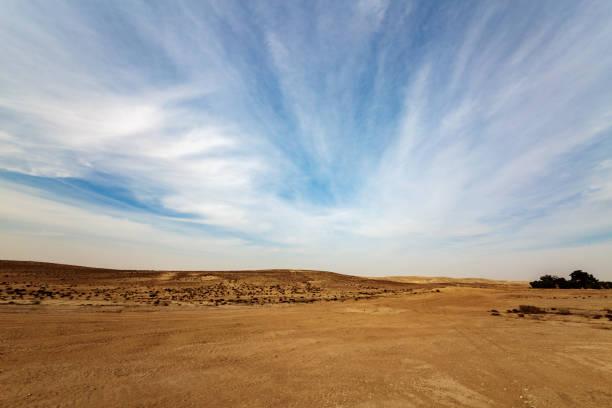 Panorama of Negev desert stock photo