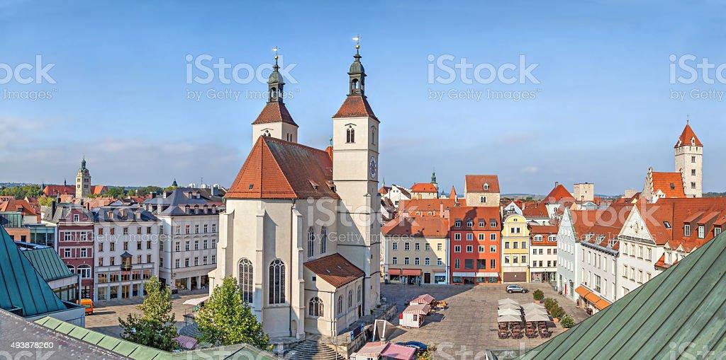 Panorama of Neupfarrplatz square in Regensburg stock photo