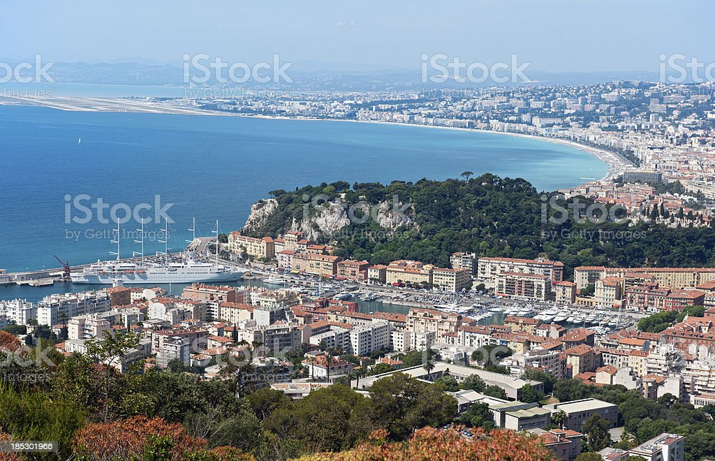 Panorama of Nice and the Bay des Anges Cote d'Azur royalty-free stock photo