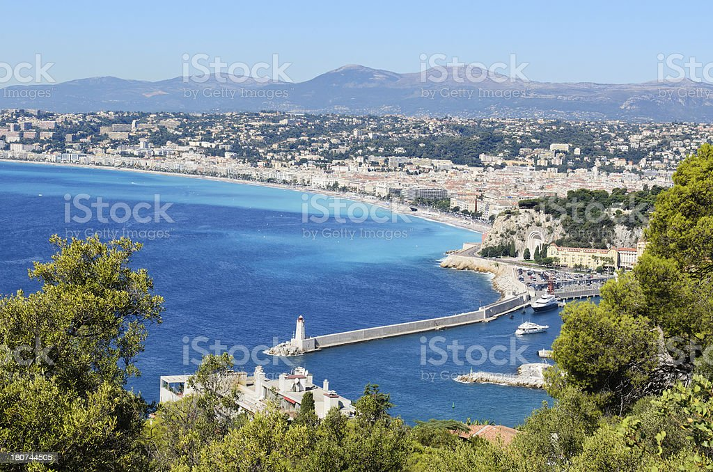 Panorama of Nice Port and Beach royalty-free stock photo