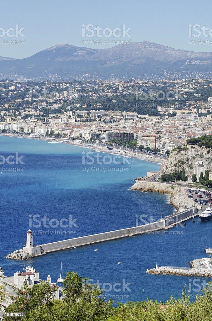 Panorama of Nice Port and Beach royalty-free stock photo