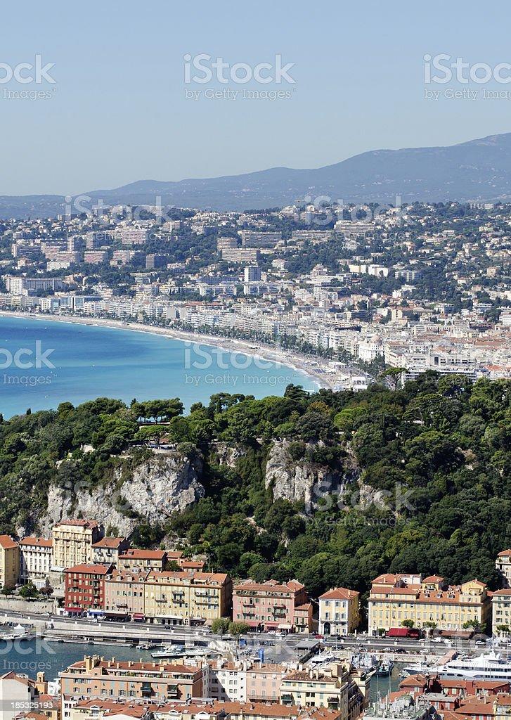 Panorama of Nice Port and Beach stock photo