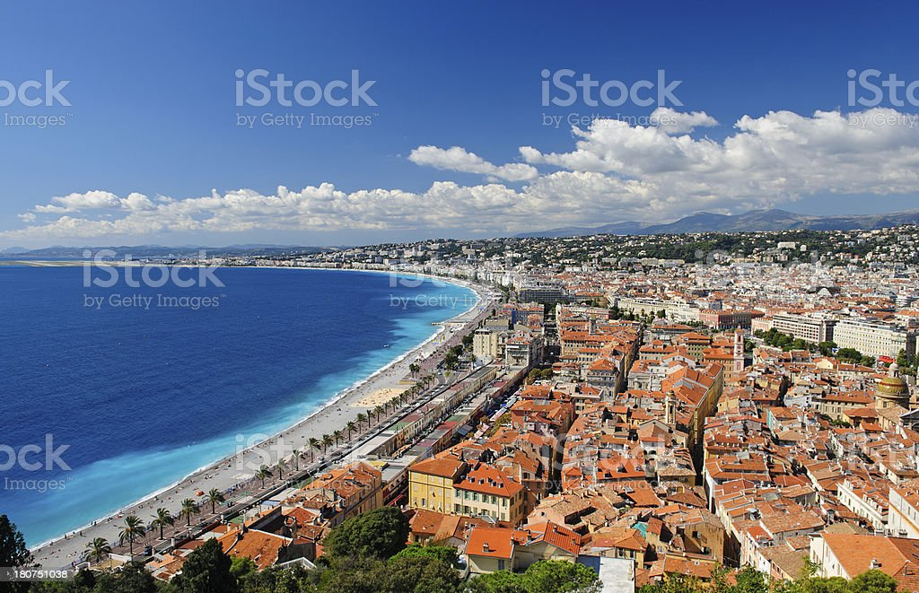 Panorama of Nice Town and Beach stock photo