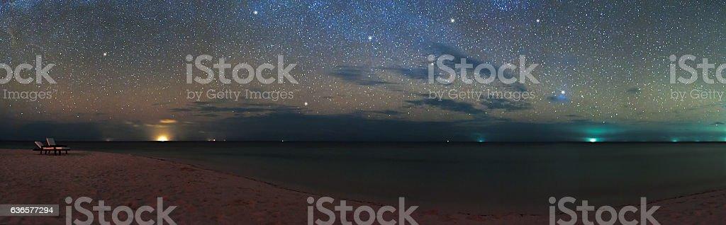 Panorama of night sky over the sea beach, Maldives Eriyadu Island
