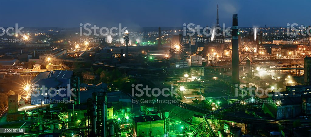 panorama of night view  of industrial metallurgical  plant stock photo