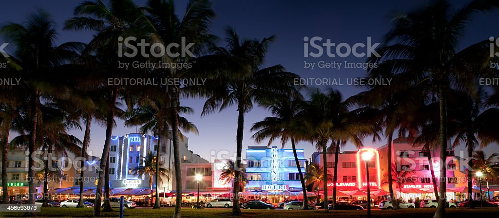 panorama of nightlife on Ocean Drive, South Beach, Miami, Florida stock photo