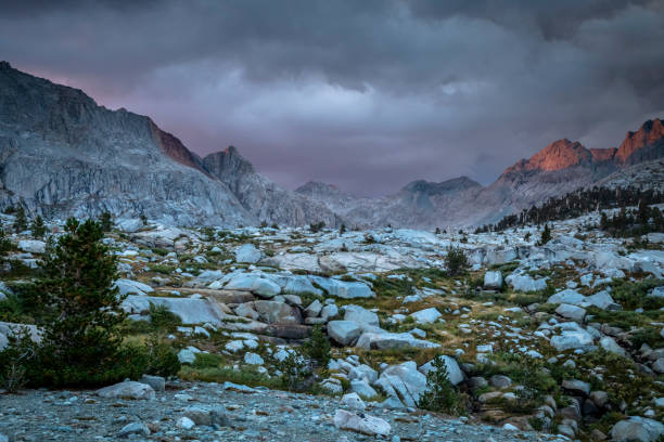 Panorama of Nine Lakes basin with storm clouds rolling in in the High Sierra Nevada stock photo