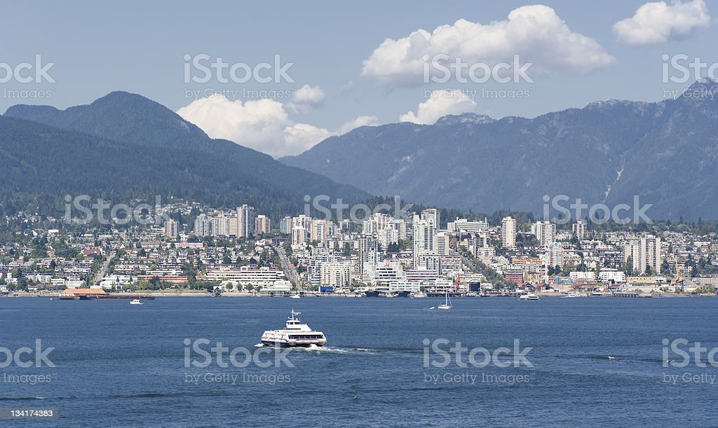 Panorama of North Vancouver with Sea Bus stock photo
