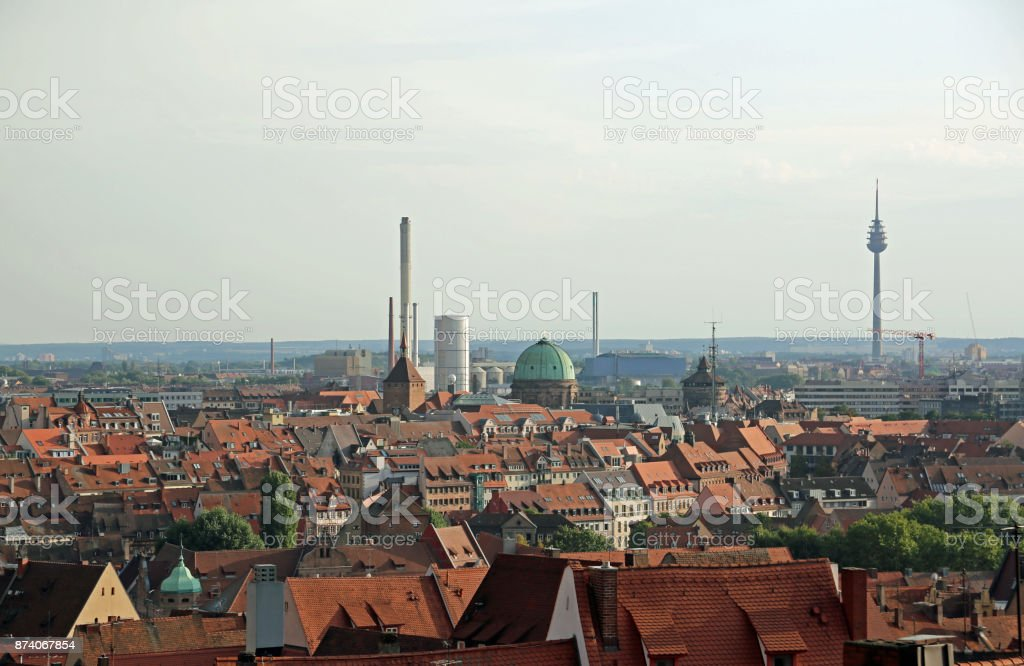 Panorama of Nuremberg city in Germany with roofs of houses stock photo