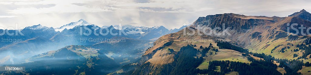 panorama of Obersimmental and Wildhorn summit with glacier in Switzerland royalty-free stock photo