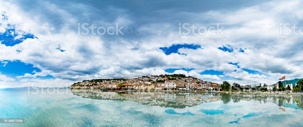 Panorama of Ohrid city and lake with reflection Ohrid in a beautiful summer day, Republic of Macedonia stock photo