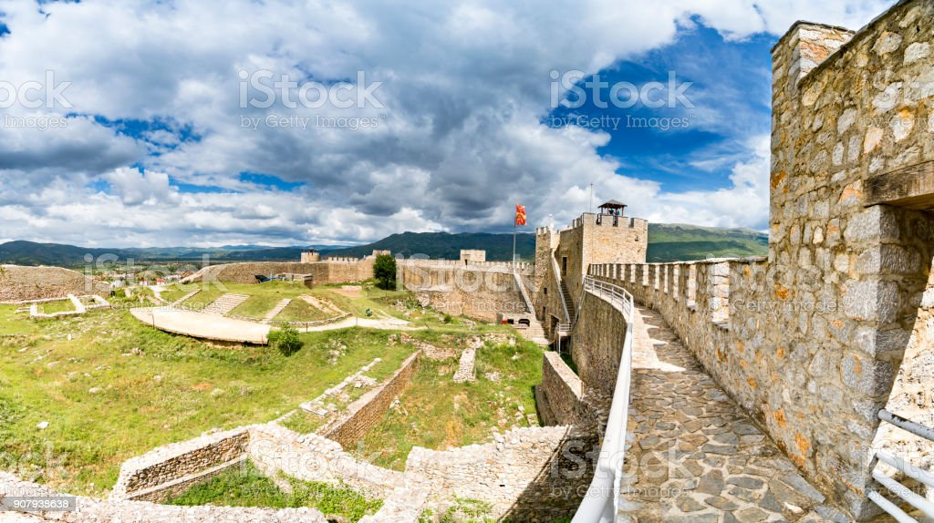 Panorama of Ohrid - Macedonia. View from watchtower of famous old fortress ruins of tzar Samuel in Ohrid know as Samuels fortress with Lake Ohrid in the background. Ohrid - Macedonia stock photo