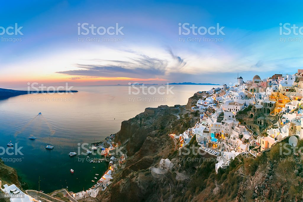 Panorama of Oia at sunset, Santorini, Greece stock photo