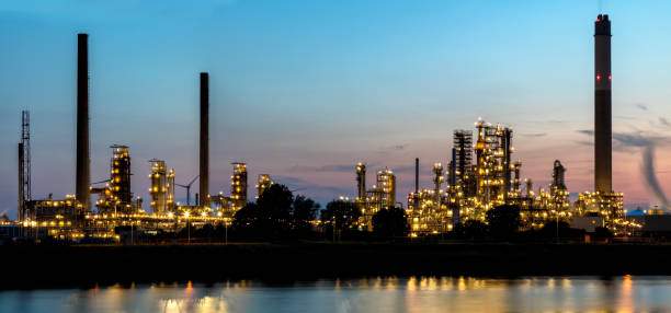 Panorama of Oil Refinery Plant Area at Dusk stock photo