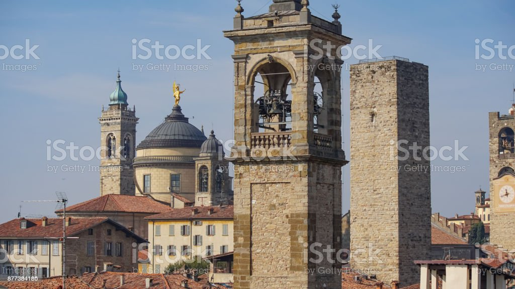 Panorama of old Bergamo, Italy. Bergamo, also called La Citt dei Mille, The City of the Thousand , is a city in Lombardy, northern Italy, about 40 km northeast of Milan. stock photo