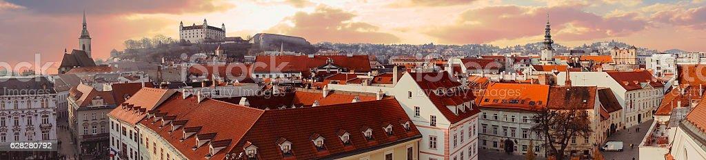 Panorama of old city in Bratislava stock photo