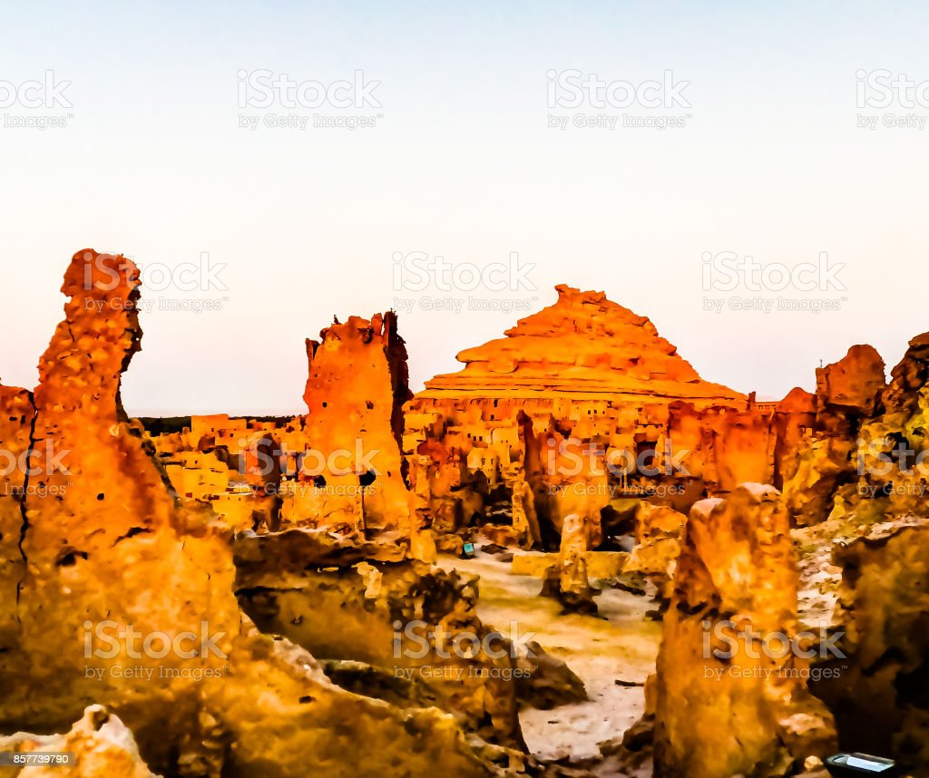 Panorama of old city Shali and mountain Dakrour in Siwa oasis at stock photo