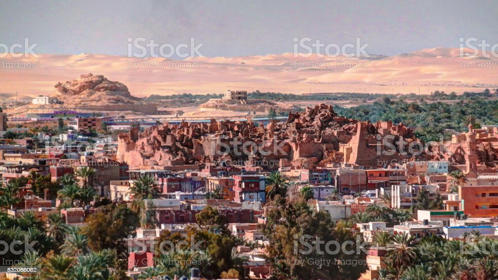 Panorama of old city Shali and mountain Dakrour in Siwa oasis, Egypt stock photo