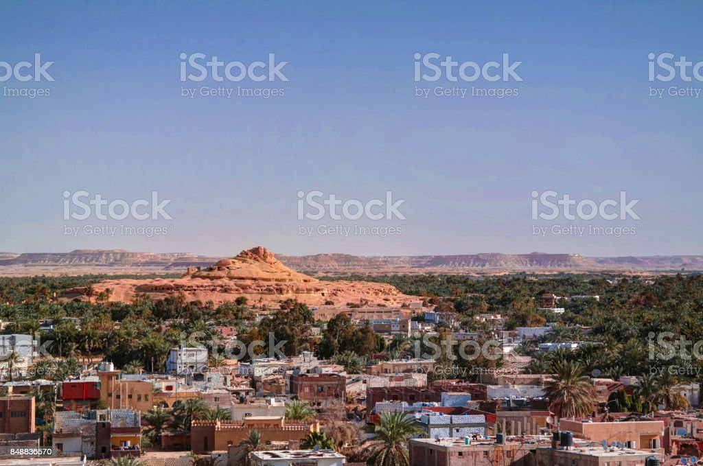 Panorama of old city Shali and mountain Dakrour, Siwa oasis, Egypt stock photo