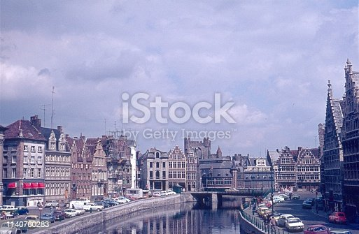 Ghent, Belgium, 1974. Panorama of old Ghent.