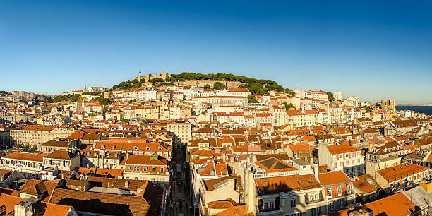 Panorama of Old Lisbon stock photo