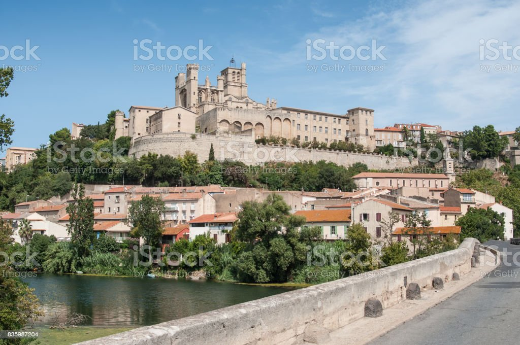 panorama of old roman bridge and cathedral St Nazaire in Beziers stock photo