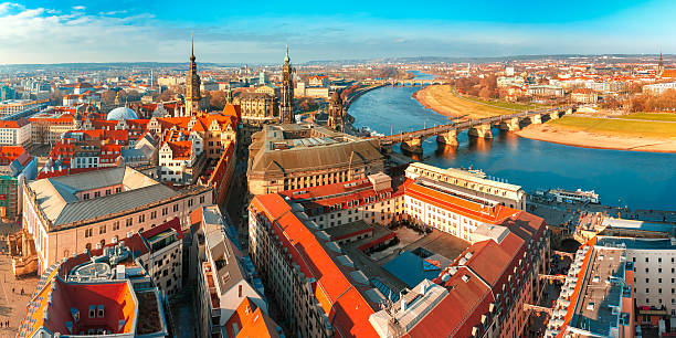 Panorama of Old town and Elbe, Dresden, Germany stock photo