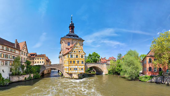 Panorama of Old Town Hall of Bamberg, Germany