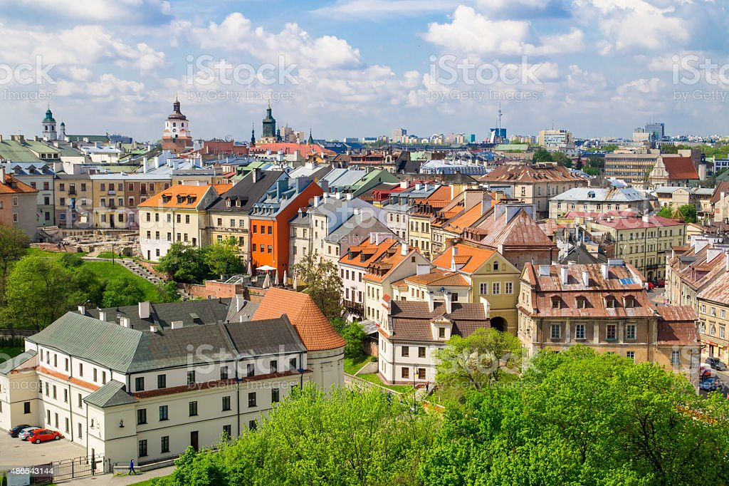 Panorama of old town in City of Lublin, Poland stock photo
