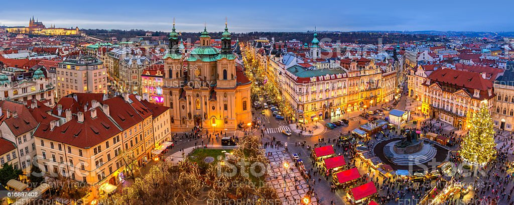 Panorama of Old Town of Prague at Christmas time. stock photo