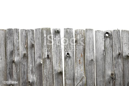 Panorama of old wooden fence of isolated on white background. Broken fence