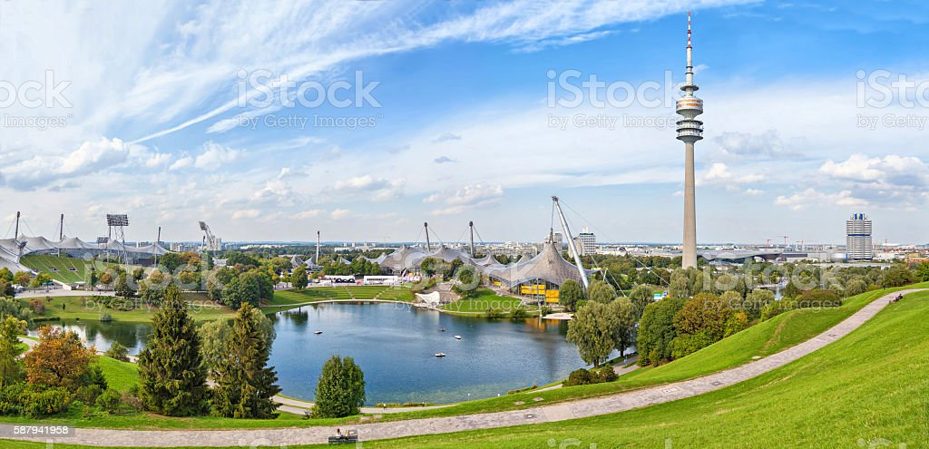 Panorama of Olympic park in Munich stock photo