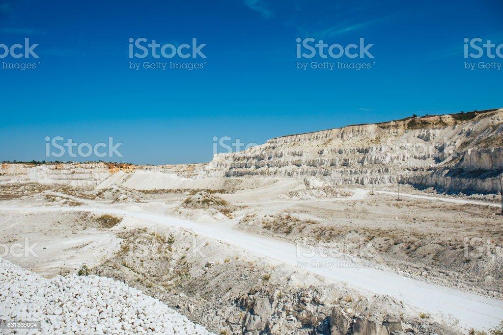 Panorama Of Opencast Quarry Limestone Mining Stock Photo