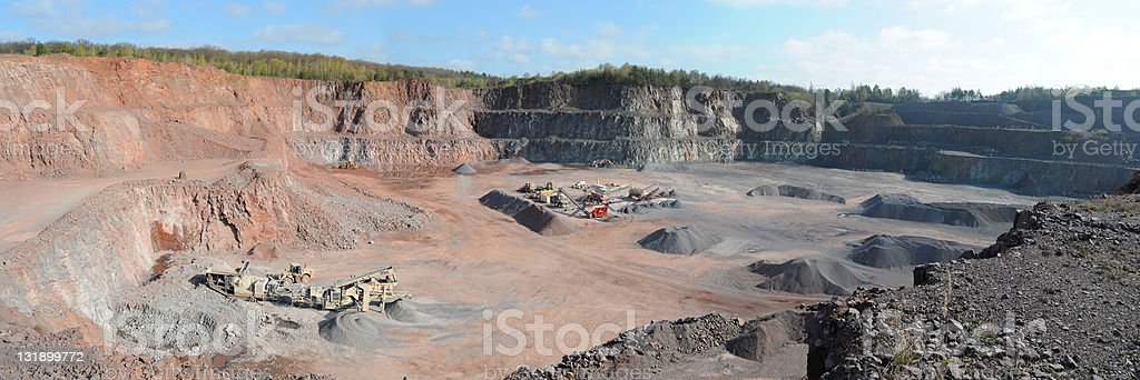 Panorama of Open-pit Mine with Earth Mover and cone crushers stock photo