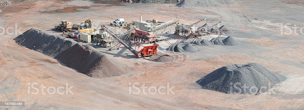 Panorama of Open-pit Mine with Earth Mover and conveyor belts stock photo