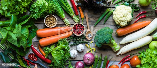 istock panorama of organic and raw vegetables on a wooden table 654108060