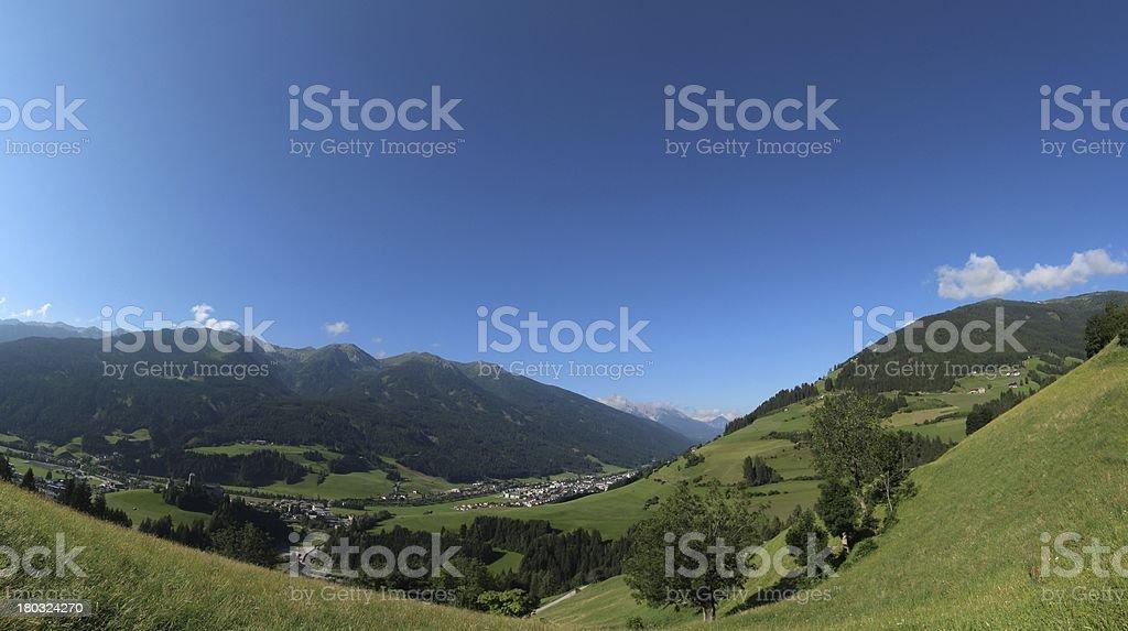 Panorama of Osttirol, Heinfels, Tyrol, Austria stock photo