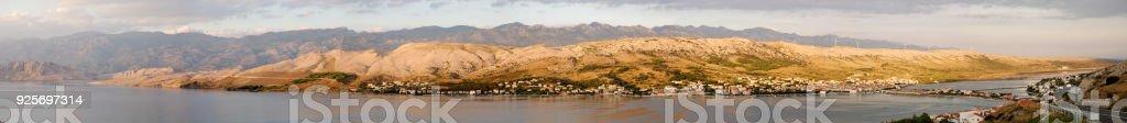 Panorama of Pag, Croatia stock photo