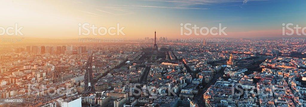 Panorama of Paris at sunset stock photo