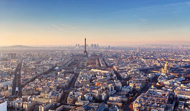 Panorama of Paris at sunset Panorama of Paris at sunset ile de france stock pictures, royalty-free photos & images
