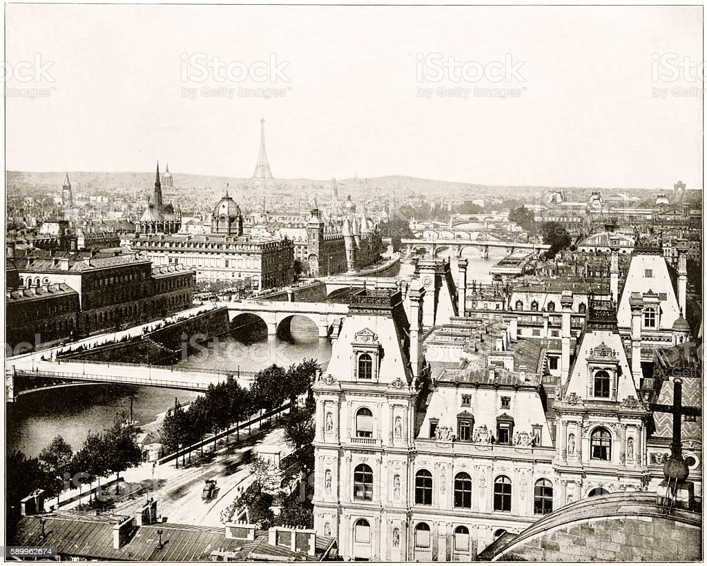Panorama of Paris, France of 1880s stock photo