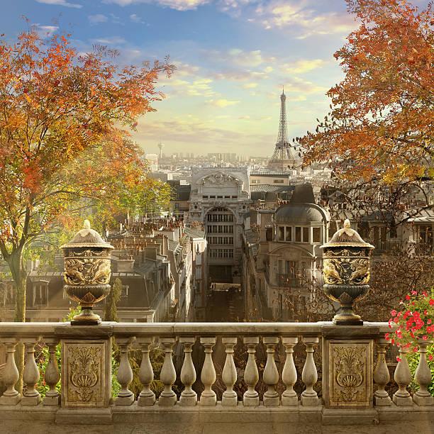 panorama of paris. - montmatre utsikt bildbanksfoton och bilder